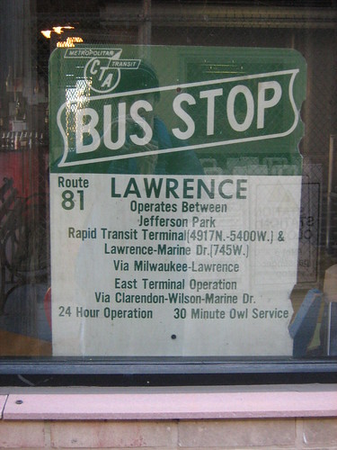 Old Fashioned #81 Lawrence CTA Bus Stop Sign - a photo on