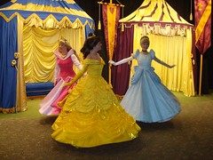 Princesses love to twirl their dresses! (Friend of Disney) Tags: vacation orlando dancing belle cinderella waltdisneyworld magickingdom princessdresses disneyprincesses princessaurora princessbelle disneyfacecharacters disneyprincessroom