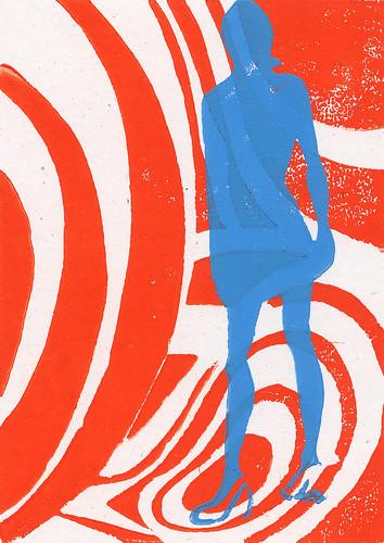 1960s Mod Psychadelic Fashion Plate Woodblock Print