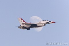 Thunderbird Moon (Bill Gerrard (Primary Colors)) Tags: moon lasvegas nevada f16 falcon airforce thunderbird nellis aviationnation