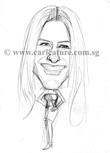 Celebrity caricatures - Aniston Jennifer pencil sketch watermark
