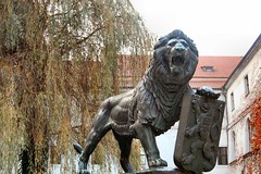 Prague Lion Statue with Coat of Arms (mbell1975) Tags: sculpture statue europa republic arms czech prague coat lion eu statues praha monastery bohemia strahov republika prask esko esk strahovsk klter