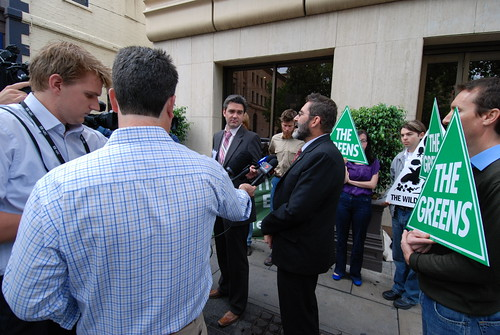 mark parnell speaking outside marathon resources AGM - more images on flickr