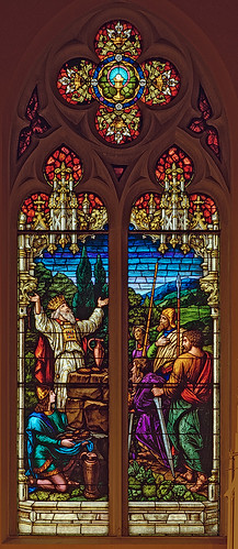 Saint George Roman Catholic Church, in New Baden, Illinois, USA - stained glass window of Melchisidec