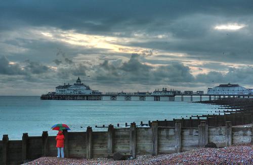 Umbrella, Pier, Winter Sky, & a Swim.