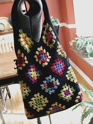 Finished Super Large Granny Square Tote!
