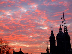 Morningsky above Amsterdam (Just a guy who likes to take pictures) Tags: morning sky sun holland color colour tree netherlands station amsterdam clouds europa europe metro euro central colorphotography nederland thenetherlands eu wolken boom holanda cs lucht mokum paysbas morgen zon europeanunion halte ochtend niederlande centraal the kleur kruis colourphotography vvv sneltram paysbays kleurenfotografie