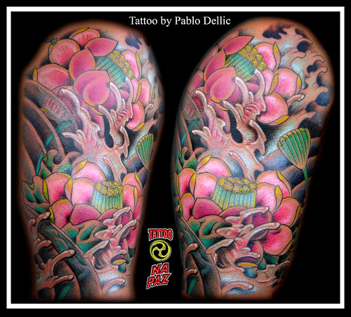 Oriental Lotus Flower Tattoo by Pablo Dellic by Pablo Dellic 