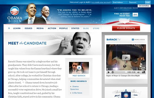 barackobama.com - Biography Page - 12/29/08