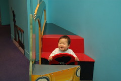 Aki driving the bus