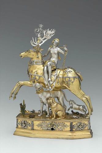 016  Diana y el ciervo autómata-Alemania entre 1610-20- realizado por Joachim Fries-Plata cincelada, dorada parcialmente y pintada con laca traslucida-© 2009 Museum of Fine Arts, Boston