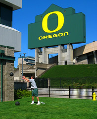 UO Autzen Stadium - medicine ball (Wolfram Burner) Tags: life school signs green college sports sign yellow oregon ball campus university o stadium photojournalism ducks eugene experience uo signage medicine burner journalism uofo scoreboard universityoforegon eugeneoregon uoregon autzen wolfram wolframburner