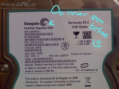 Seagate ES 1TB Label