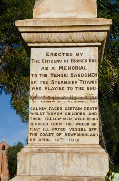 Titanic Memorial, Broken Hill, New South Wales, Australia