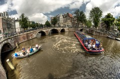 Ready, steady, summer! - (explored) (A r l e t t e (reloaded)) Tags: bridge summer water amsterdam boats canal tourists fisheye explore 8mm hdr keizersgracht canalboat gracht lightroom arlette warmday 3xp photomatix samyang samyang8mm