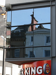 Reflections in Burger King (pharmcat) Tags: street sky reflection building liverpool burger bold