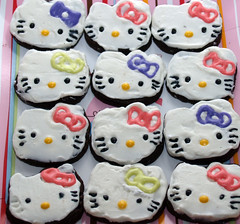 Dark Chocolate Hello Kitty Cookies (nikkicookiebaker) Tags: hello cookies out cut kitty decorated