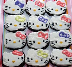 Dark Chocolate Hello Kitty Cookies (nikkicookiebaker) Tags: hello cookies out cut kitty decorated