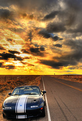 Roadster Sunset (revlimit) Tags: sunset sky car clouds nikon stripes albuquerque na explore topdown westside nm nikkor mazda miata hdr 48 mx5 rollbar roadster d300 28mm28 sharka 5exposures handheldhdr