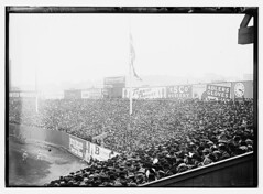 [Boston AL vs. New York NL at Polo Grounds during World Series, 1912 (baseball)]  (LOC) (The Library of Congress) Tags: newyorkcity newyork game advertising baseball stadium redsox libraryofcongress fans 1912 athletes bleachers players advertisements bostonredsox worldseries outfield pologrounds newyorkgiants xmlns:dc=httppurlorgdcelements11 1912worldseries adlersgloves escohosiery turkishtrophies dc:identifier=httphdllocgovlocpnpggbain10858 bostoredsox newyorkbaseballgiants escohoisery