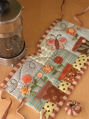 GARDEN French Press Cozy (PatchworkPottery) Tags: flowers ikea coffee butterfly cozy tea handmade buttons frenchpress quilted patchwork press applique kaffe bodum
