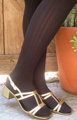 gold metallic vintage strappy sandals.