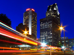 The light trail in Montreal - Quebec (Nino H) Tags: city blue light canada building night marriott hotel downtown montral lumire centre qubec hour nuit ville 1000delagauchetire mywinners anawesomeshot megashot excellentphotographerawards photoquebec