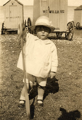 In front of the bathing machines (lovedaylemon) Tags: sea holiday beach hat vintage found seaside sand child williams image spade bathingmachine 19151920 wtwilliams