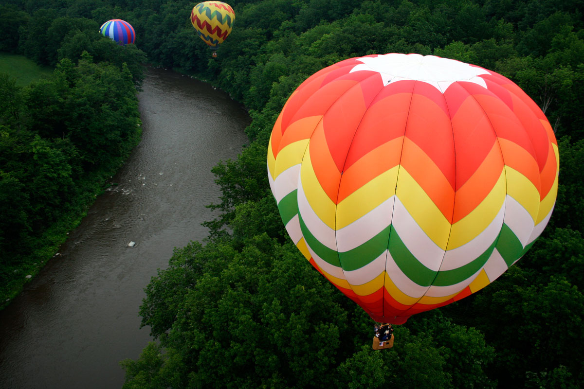 Over the Ottauquechee River, Quechee Vermont, during the 2008 Quechee Hot Air Balloon Festival