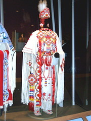 NMAI_Modern Girl's Dress (catface3) Tags: red white yellow washingtondc smithsonian dc dress stripes fringe nativeamerican nmai buckskin beadwork moccasins deerskin plainsindians nationalmuseumofamericanindian catface3