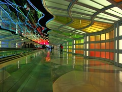 Down Under (708718) Tags: travel chicago art colors airport rainbow curves ohare walkway deco hdr illnois ianreid onthegarbagecan