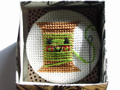 Needle and Green Thread (Pin Pals) Tags: pin cross stitch brooch pal bobbin dmc floss