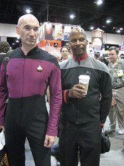 A pair of Captains. (Roninspoon) Tags: costumes startrek costume sandiego cosplay captainpicard comiccon comicon startrekthenextgeneration comicconinternational startrekdeepspacenine captainsisko comicconinternational2008