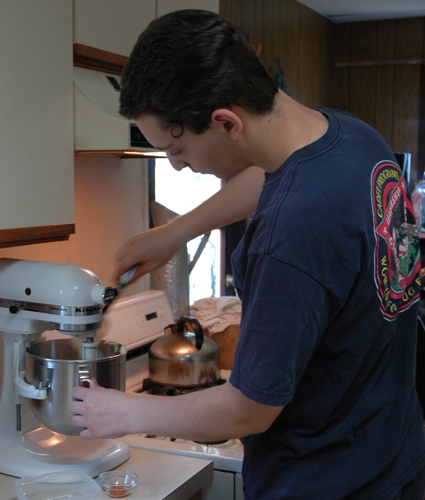 Alex baking for soldiers