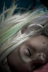 Sleeping beaty (masshuu) Tags: pink blue portrait woman girl beauty face female work hair denmark island nose pretty cheek head sleep farm slumber seasonal fake fringe piercing tired blonde much bangs job dormir danmark braid samsu strawberrypicking samso extentions