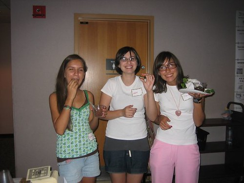 Teen Volunteers' Sleepover 2008. Valeria, Lottie, & Clara play with their ...