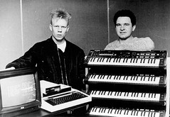 Vince Clarke & Eric with UMI-2B + some Casio CZ101's (Neil Vance) Tags: blackandwhite bw london monochrome rock shop blackwhite vince neil casio bbc micro beeb midi radcliffe umi synthesizers clarke vance sequencer vinceclarke cz101 bbcb umusic umi2b neilvance lyntonnaiff themarygoround