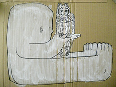 (pasted) Tags: street urban white streetart man black berlin guy bird art feet ass face illustration germany graffiti design sketch blog montana toes paint toe hand head contemporary character touch feather twin dude cardboard card fault owl marker carton rough draw ankle