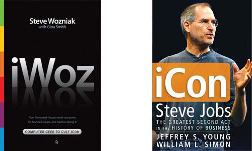 Portadas de los libros sobre la historia de Apple en cuestión, a la izquierda iWoz de Steve Wozniak y a la derecha iCon sobre Steve Jobs