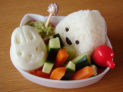 Simple bento lunch (she.likes.cute) Tags: food bunny japan lunch japanese box cucumber egg lion onigiri kawaii carrot bento