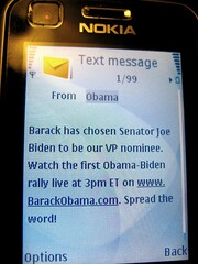 Obama Text Message Announcing Biden as his VP