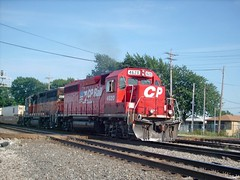 Canadian Pacific intermodal transfer train passing through Hayford Junction. Chicago Illinois. July 2007.
