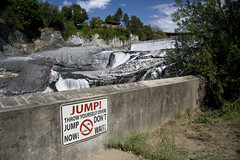 Jumpers Only (Jibby!) Tags: sign photoshop river washington jump spokane bad economy fakery