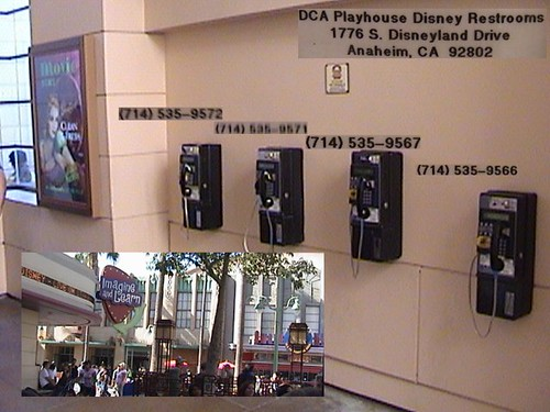 Payphones: 714-535-9572, 714-535-9571, 714-535-9567, 714-535-9566, Playhouse Disney Restrooms, Hollywood Pictures Backlot, Disney California Adventure®, Anaheim, California, with Text, 2008.08.22 16:0