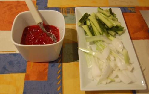 plum sauce and garnish for peking duck