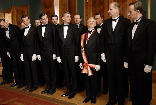 "Ivan Barnev (in the sash) is a naively ambitious hotel waiter in ""I Served the King of England""."