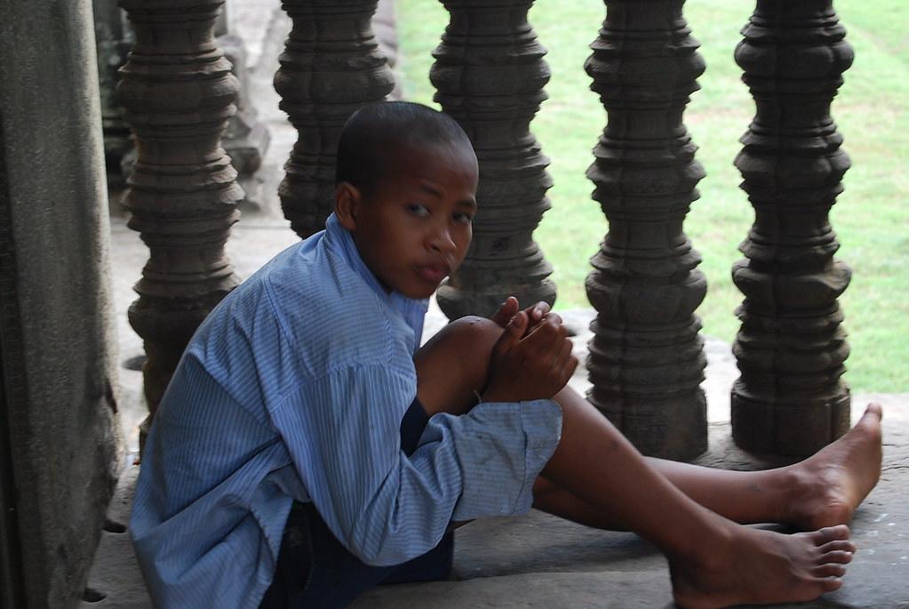 Un joven camboyano en Angkor