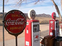 Drink Coca-Cola Refresh!  Old gas pumps and fa...