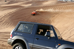 (Smallsmalls) Tags: blue orange wagon sand dubai desert jeep dune uae middleeast dust v6 galloper