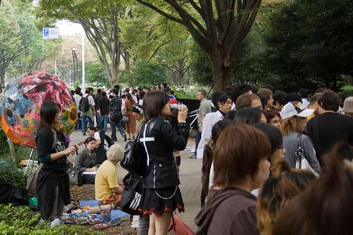 La foule aux abords du parc Yoyogi